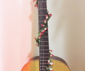 acoustic, acoustic guitar, and flowers image