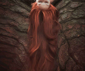 hair, tree, and red hair image