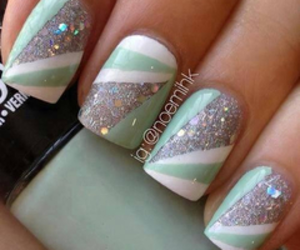 nails, green, and white image