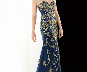 beaded, evening gown, and navy image