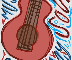 colors, guitar, and drawing image