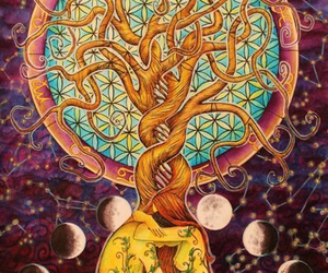 tree, moon, and art image