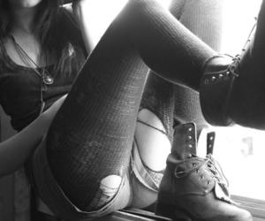 b&w, girl, and leggings image