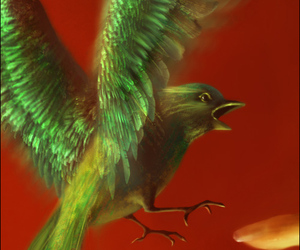 bird, digital painting, and green image