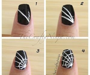 black, nail art, and spider web image