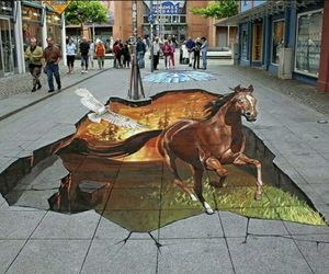 3-d, horses, and paintings image
