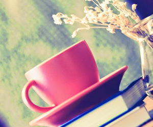 book, cup, and pink image