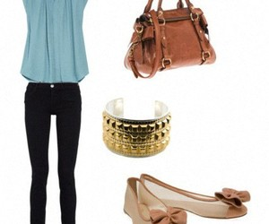 bag, flats, and outfit image