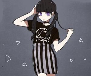 anime, black, and anime girl image