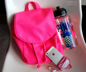 pink, iphone, and bag image