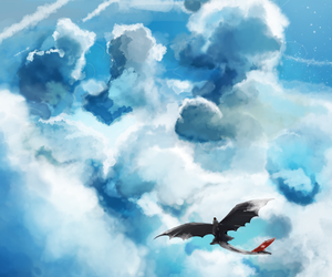 fly, hiccup, and sky image