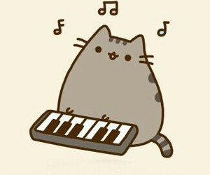 cat, music, and piano image