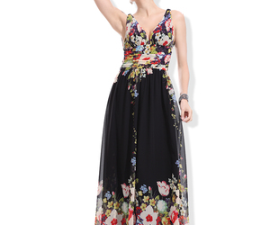 long, party dresses, and black print dresses image