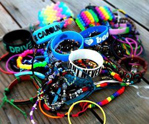 bracelets, i love boobies, and colors image