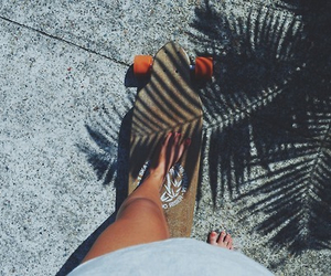 girl, summer, and longboard image
