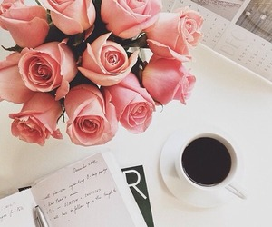 rose, coffee, and flowers image