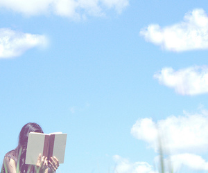 book, sky, and girl image