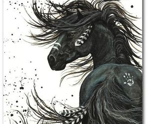 horse, indian, and art image