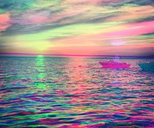ocean, boat, and colours image
