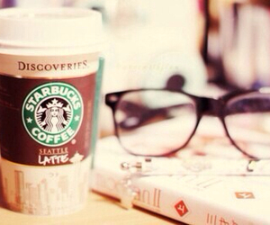starbucks, coffee, and glasses image