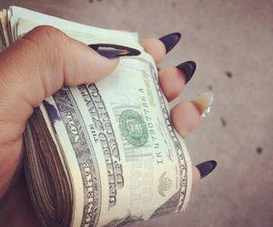 money, nails, and black image