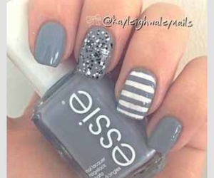 nails, grey, and essie image