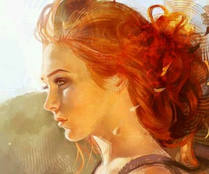 beauty, redhead, and thinker image
