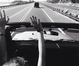 black and white, car, and travel image