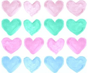 hearts, pink, and blue image