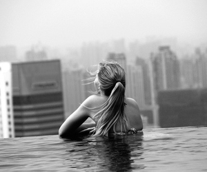 pool, view, and woman image