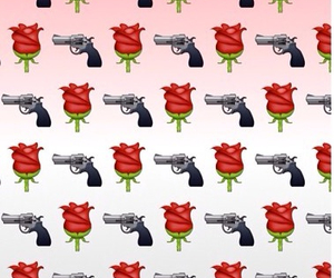 wallpaper, gun, and rose image
