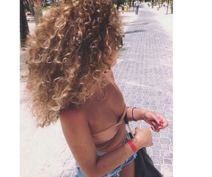 curly hair, girl, and summer image