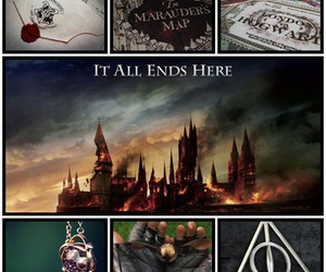 deathly hallows, harry potter, and carta de hogwarts image