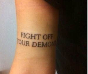 demons, fight, and tattoo image