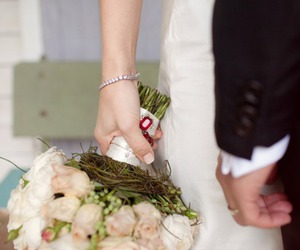 bride, bouquet, and groom image