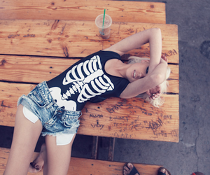 girl, blonde, and skeleton image