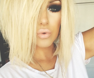 makeup, blonde, and hair image
