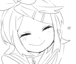 black and white, kagamine rin, and smile image
