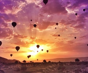 beautiful, sunset, and balloons image