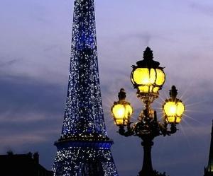 paris, eiffel tower, and lights image