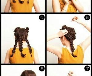 braided, hair tutorial, and bun image