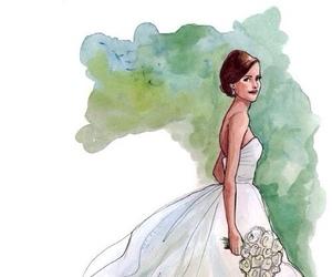wedding, drawing, and wedding dress image