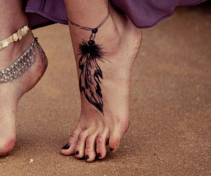 feathers, feet, and girl image