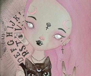 cat, art, and pastel goth image
