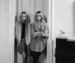 olsen, black and white, and twins image