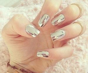 nails, metallic, and beauty image