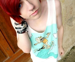 emo, piercing, and red hair image
