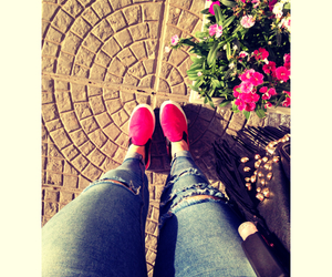flower, jeans, and moda image