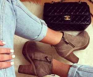 bag, boots, and legs image
