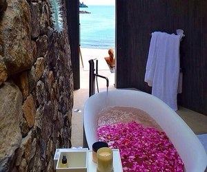 bath, beach, and flowers image